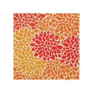 Impressão Em Madeira Moderno retro da flor colorida do vermelho