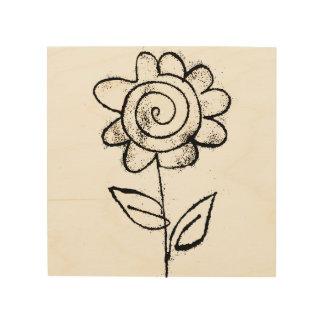 Impressão Em Madeira Mono flor do impressão