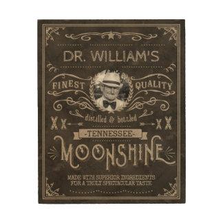 Impressão Em Madeira Moonshine o costume Brown do vintage da medicina