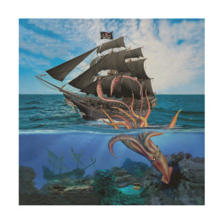 Impressão Em Madeira Navio de pirata contra o calamar gigante