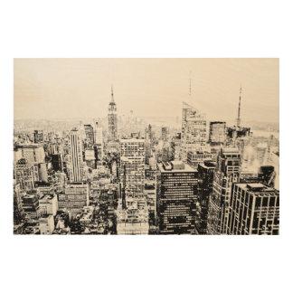 Impressão Em Madeira New York, New York (panorama preto & branco)