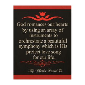 Impressão Em Madeira O amor do deus