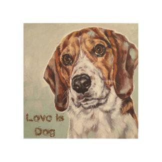 Impressão Em Madeira O amor é impressão da aguarela do cão