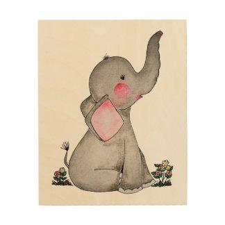 Impressão Em Madeira O elefante bonito do bebê da aguarela com cora &