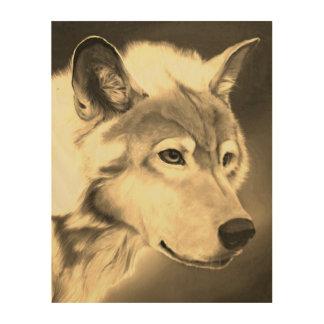Impressão Em Madeira O Sepia majestoso do lobo cinzento tonificou a