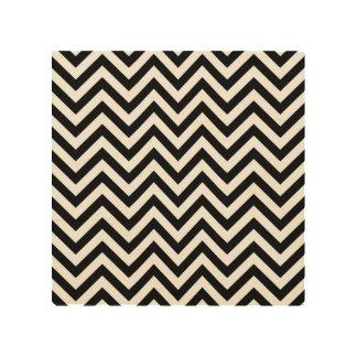 Impressão Em Madeira O ziguezague preto e branco listra o teste padrão