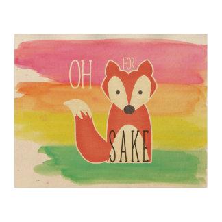 Impressão Em Madeira Oh para listras da aguarela da causa do Fox