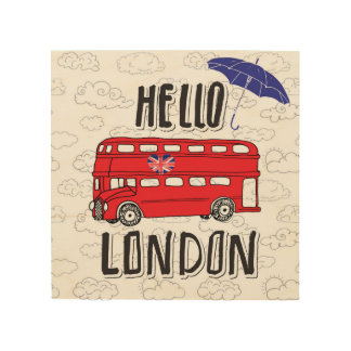 Impressão Em Madeira Olá! sinal indicado por letras da mão de Londres |