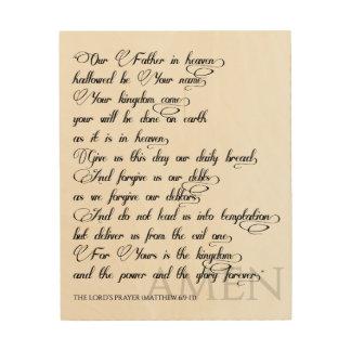 Impressão Em Madeira Oração do senhor na madeira