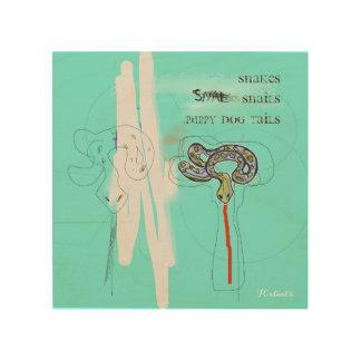 Impressão Em Madeira Os caracóis dos cobras & o cão de filhote de