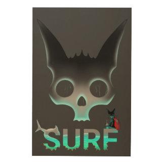 Impressão Em Madeira Os grafites urbanos do surf refrigeram o gato