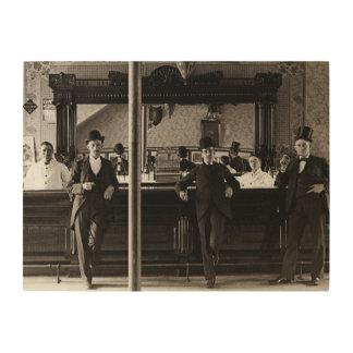 Impressão Em Madeira Os homens interiores do bar de bar equipam o bar
