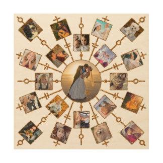 Impressão Em Madeira Ouro branco bonito das imagens da colagem 21 da