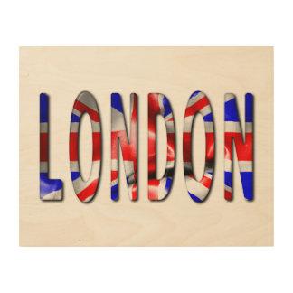 Impressão Em Madeira Palavra de Londres com arte de madeira da parede