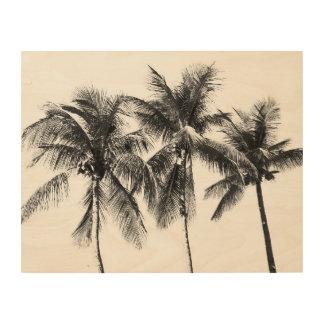 Impressão Em Madeira Palmeira preto e branco tropical