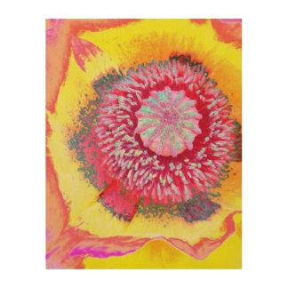 Impressão Em Madeira Papoila colorida