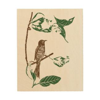 Impressão Em Madeira Pássaro