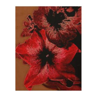 Impressão Em Madeira Petúnia do vermelho e do Claret