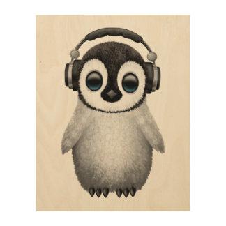 Impressão Em Madeira Pinguim bonito DJ do bebê que veste fones de