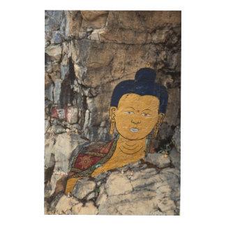 Impressão Em Madeira Pintura da rocha de Buddha