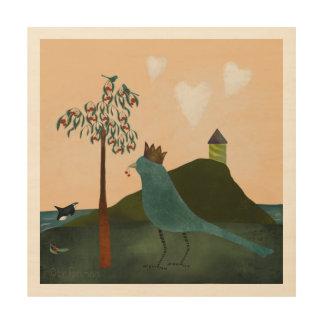 Impressão Em Madeira Pintura real gigante do bluebird e da orca