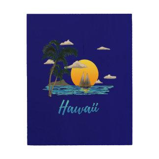 Impressão Em Madeira Por do sol da praia de Havaí