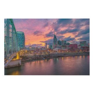 Impressão Em Madeira Por do sol de Nashville