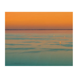 Impressão Em Madeira Por do sol sobre o lago Balaton, Hungria