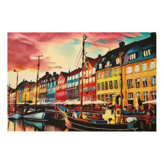 Impressão Em Madeira Porto de Copenhaga