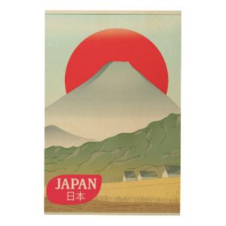 Impressão Em Madeira Poster das viagens vintage da montanha de Japão