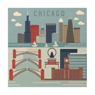 Impressão Em Madeira Poster de Chicago Illinois