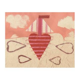 Impressão Em Madeira Poster de madeira do barco de Loveheart