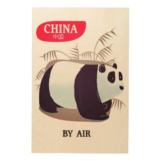 Impressão Em Madeira Poster de viagens da panda de China