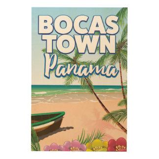 Impressão Em Madeira Poster de viagens da praia de Panamá da cidade de
