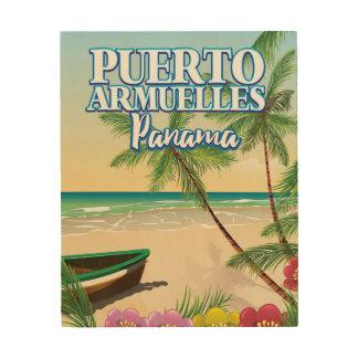 Impressão Em Madeira Poster de viagens da praia de Puerto Armuelles