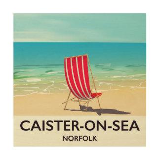Impressão Em Madeira Poster de viagens do beira-mar do Caister-em-Mar