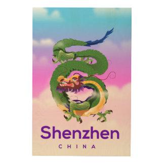 Impressão Em Madeira Poster de viagens do dragão de Shenzhen China