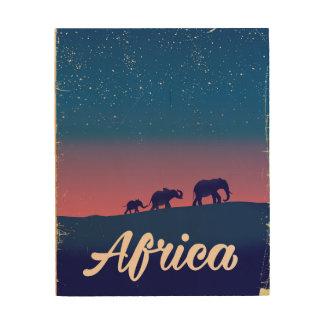 Impressão Em Madeira Poster de viagens dos elefantes do vintage de