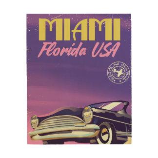 Impressão Em Madeira Poster vintage de Miami Florida EUA