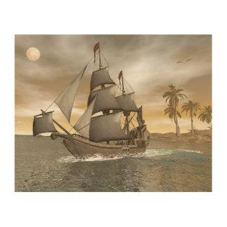 Impressão Em Madeira Sair do navio de pirata - 3D render.j