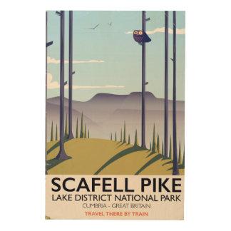 Impressão Em Madeira Scafell Pike, Cumbria, poster das viagens vintage