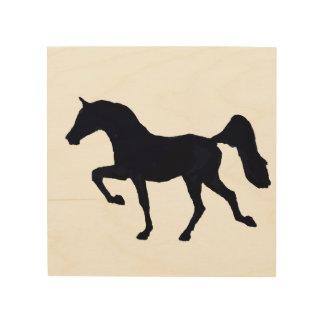 Impressão Em Madeira Silhueta árabe Prancing do cavalo