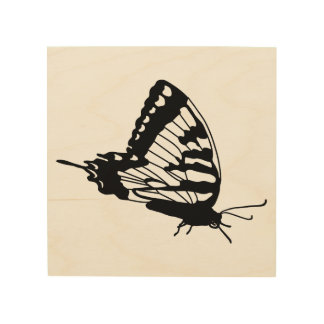 Impressão Em Madeira Silhueta da borboleta na madeira
