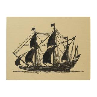 Impressão Em Madeira Silhueta do navio com velas Billowing