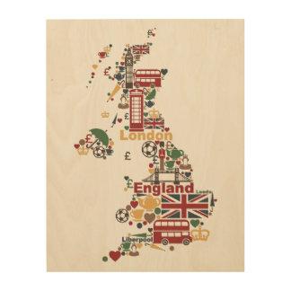 Impressão Em Madeira Símbolos do mapa de Inglaterra