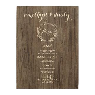 Impressão Em Madeira Sinal rústico de madeira do menu do casamento
