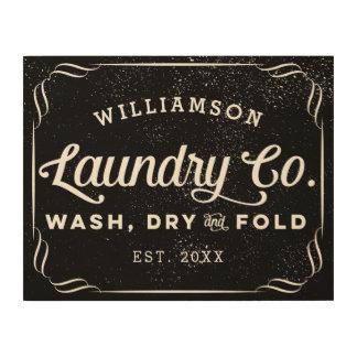 Impressão Em Madeira Sinal seco personalizado da dobra da lavagem preta