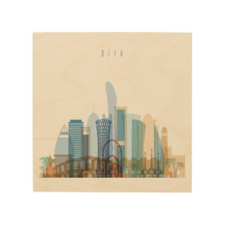 Impressão Em Madeira Skyline da cidade de Doha, Qatar  