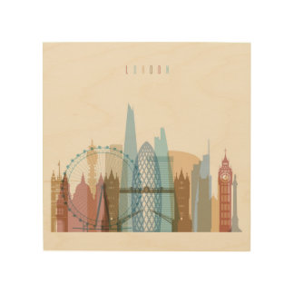 Impressão Em Madeira Skyline da cidade de Londres, Inglaterra |