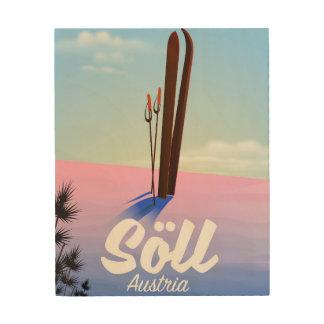 Impressão Em Madeira Söll, poster de viagens do esqui de Áustria
